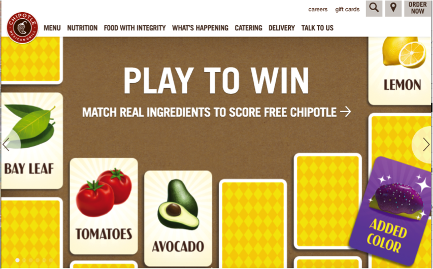 Chipotle's Real Foods Matching game
